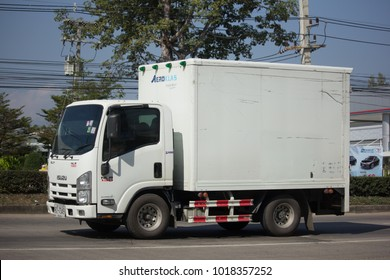 CHIANG MAI, THAILAND -JANUARY 9 2018:  Cold Container Truck for Ice Transportation. Photo at road no.121 about 8 km from downtown Chiangmai, thailand.
