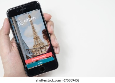 CHIANG MAI, THAILAND - Jul 09, 2017: Apple iPhone with Airbnb application on the screen. Airbnb is a website for people to list, find, and rent lodging.