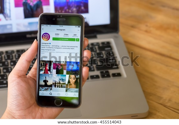 CHIANG MAI, THAILAND - JUL 10,2016: A women holds Apple iPhone 6S with Instagram application on the screen. Instagram is a photo-sharing app for smartphones.