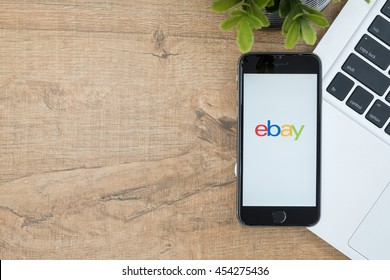 CHIANG MAI, THAILAND - Jul 18,2016: Apple iPhone with Ebay application on the screen. Ebay is providing consumer to consumer & business to consumer sales services via Internet.