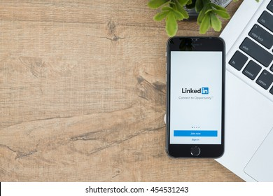CHIANG MAI, THAILAND - Jul 18,2016: Apple iPhone with LinkedIn application on the screen. LinkedIn is a business-oriented social networking service.
