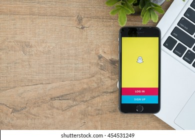 CHIANG MAI, THAILAND - Jul 18,2016: Apple iPhone with Snapchat application on the screen. Snapchat is a mobile messaging application for sharing photos, videos, text, and drawings.