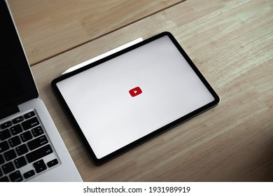 CHIANG MAI, THAILAND - JUL 26, 2020: iPad Pro on table with Youtube logo, iPad Pro was created and developed by the Apple inc..