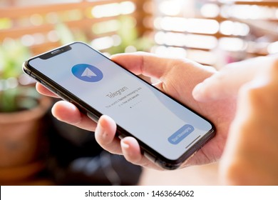 CHIANG MAI, THAILAND JUL 28 2019 : Telegram application icon on Apple iPhone Xs screen close-up. Telegram app icon. Telegram is an online social media network. Social media app