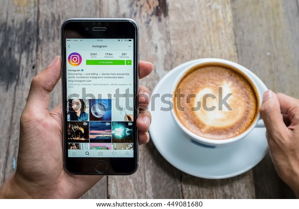 CHIANG MAI, THAILAND - JUL 7,2016: A women holds Apple iPhone 6S with Instagram application on the screen. Instagram is a photo-sharing app for smartphones.