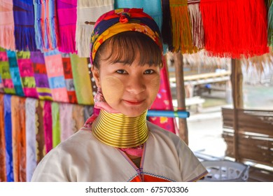 CHIANG MAI, THAILAND - July 10, 2017: Long Neck young girl in a tribe near Chiang Mai in Northern Thailand.