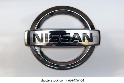 CHIANG MAI, THAILAND - July 1,2017: Logo of Nissan car on display at Nissan Showroom.
