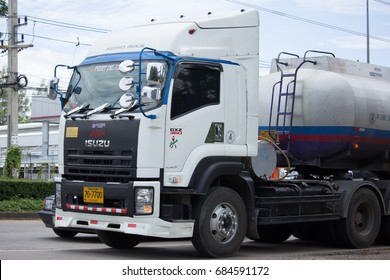CHIANG MAI, THAILAND - JULY 16  2017: Oil Truck of Pusit Oil transport Company. Photo at road no.1001 about 8 km from city center, thailand.