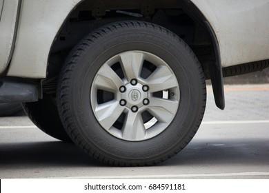 CHIANG MAI, THAILAND - JULY 16  2017: Yokohama Tire of Pickup Truck. On road no.1001, 8 km from Chiangmai city.