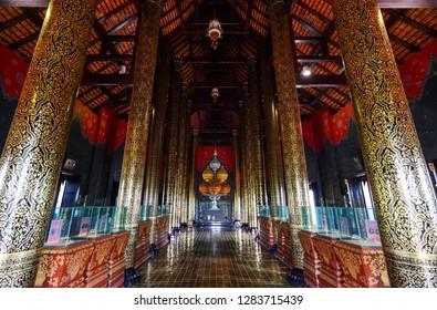 Chiang Mai, Thailand - July 22, 2016: Ornate interior of Ho Kham Luang Royal Pavilion at Royal Park Rajapruek