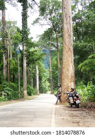 Chiang Mai, Thailand - July 28, 2020: The Bikers and Motorbike Royal Enfield taking break on the road that cuts through the forest with large trees along the way maintains at Chiang Mai, Thailand.