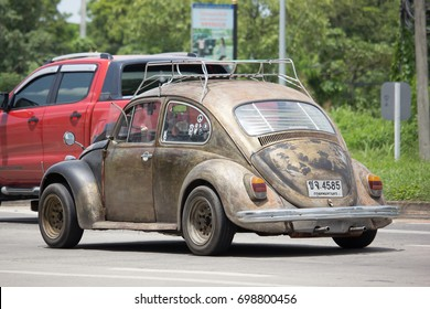 CHIANG MAI, THAILAND - JULY 28  2017:  Vintage Private Car, Yellow of Volkswagen beetle. Photo at road no.1001 about 8 km from downtown Chiangmai, thailand.