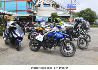 CHIANG MAI, THAILAND - JULY 8, 2017 : Group of motorcycle parked on a roadside at Chiangmai, Thailand. Travel with adventure touring motorcycle.