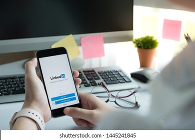 CHIANG MAI, THAILAND - JUN 15, 2018: iPhone 6s with LinkedIn application on the screen. LinkedIn is a business-oriented social networking service.