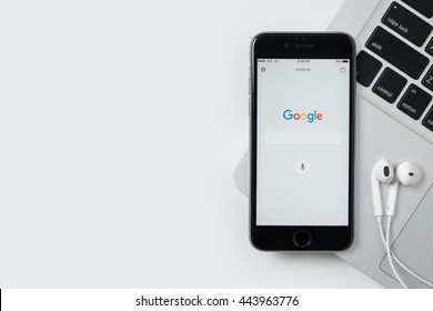 CHIANG MAI, THAILAND - Jun 24,2016: Google search application on Apple iPhone. Google search application is the search engine service provide by Google.