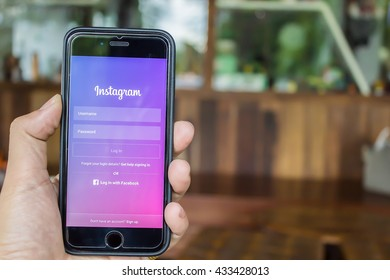CHIANG MAI, THAILAND - JUN 4,2016: A man holds Apple iPhone 6S with Instagram application on the screen. Instagram is a photo-sharing app for smartphones.