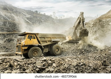 CHIANG MAI, THAILAND - JUNE 16: Big mining dumping truck on June 16,2016 in Chiang Mai Coal Mine ,Chiang Mai,Thailand.