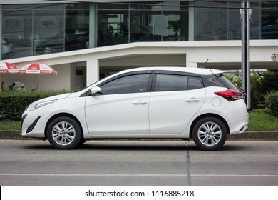 CHIANG MAI, THAILAND - JUNE 17 2018:  New Private Car toyota Yaris Hatchback Eco Car.  Photo at road no 121 about 8 km from downtown Chiangmai thailand.