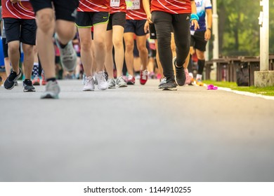 Chiang Mai, Thailand - June 17th, 2018 : Group of Chiang Mai people feet running in marathon running race on June 17th, 2018 in Chiang Mai Thailand