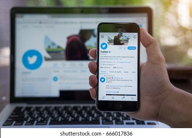 CHIANG MAI, THAILAND - JUNE 24, 2017: Person holding a brand new Apple iPhone  with Twitter logo on the screen. Twitter is a social media online service for microblogging and networking communication.