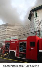 Chiang Mai, Thailand . June 5 2015- Fire in Waroros province Chiang Mai, Thailand on June 5, 2015.