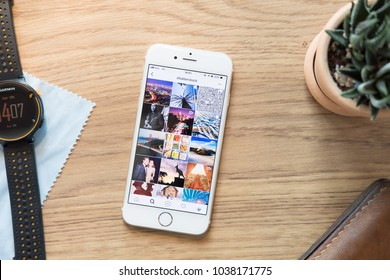CHIANG MAI, THAILAND - Mar 04, 2018: top view of screen shot of Instagram shutterstock page. Instagram is a photo-sharing app for smartphones.