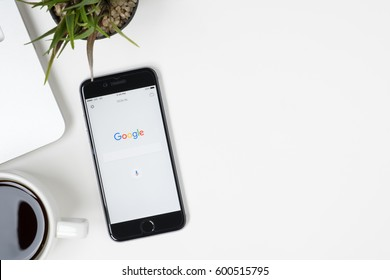 CHIANG MAI, THAILAND - Mar 05, 2017: Google search application on Apple iPhone. Google search application is the search engine service provide by Google.