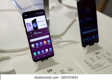 CHIANG MAI , THAILAND - MAR 1, 2018: Newely launched Samsung Galaxy S9 and S9 Plus Smartphone is displayed with home screen, Samsung galaxy s9 launch on febuary 28 ,2018.