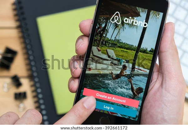 CHIANG MAI, THAILAND - MAR 12,2016: Apple iPhone with Airbnb application on the screen. Airbnb is a website for people to list, find, and rent lodging.
