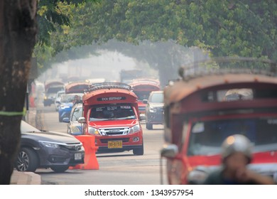 CHIANG MAI THAILAND - Mar 15 : The polluted skies over Chiang Mai. Forest fires have sent air quality in nine provinces to a level considered harmful to health, March 15,2019 in Old town , Chiang mai,