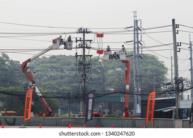 CHIANG MAI, THAILAND, Mar 16, 2019 : The Provincial Electricity Authority Maintain high voltage cable at Chiang Mai Province, Thailand.