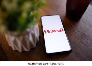 CHIANG MAI, THAILAND - Mar. 24,2019: Xiaomi Mi Mix 3 mobile phone with Pinterest apps login on screen. Pinterest is an online pinboard that allows people to pin their interesting things.