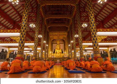 CHIANG MAI, THAILAND - Mar. 26, 2018 : A group of students who ordained to become the novice monks at Wat Suan Dok, during the school holiday in Chiang Mai, Thailand
