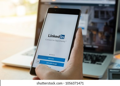 CHIANG MAI, THAILAND - MAR 28, 2018: Huawei P10 with LinkedIn application on the screen. LinkedIn is a business-oriented social networking service.