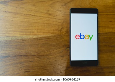 CHIANG MAI, THAILAND - Mar 28,2018: HUAWEI mobile phone with eBay apps on the screen. eBay is one of the most popular ways to buy and sell goods and services on the internet.