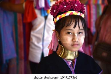 CHIANG MAI, THAILAND - MARCH 17, 2018: Long neck Karen or Kariang woman in the Karen Hilltribe. The Karen Village near Chiang Mai, Thailand.