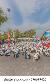 CHIANG MAI, Thailand - March 19, 2016 : 1600 Pandas World Tour in Thailand by WWF at Tha-Pae Gate . 1600 paper marche pandas are made from recycled materials to represent 1600 pandas left in the wild.