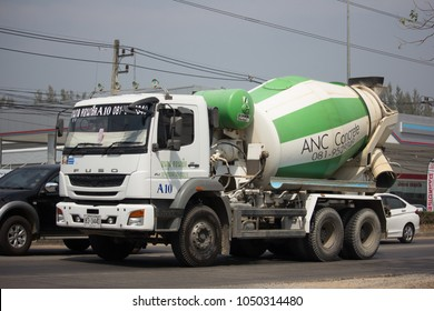 CHIANG MAI, THAILAND -MARCH 2 2018: Cement truck of Anukul Concrete company. Photo at road no 121 about 8 km from downtown Chiangmai, thailand.