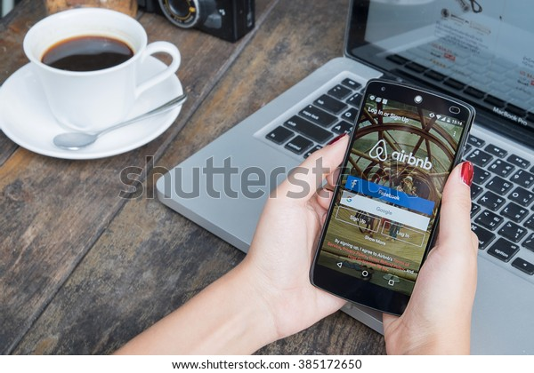 CHIANG MAI, THAILAND -March 2, 2016:LG Nexus 5 open Airbnb application on the screen. Airbnb is a website for people to list, find, and rent lodging.