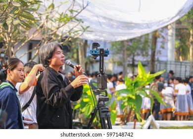 Chiang Mai Thailand - March 4, 2017: Photographers are instructing the graduates to arrange a row to shoot