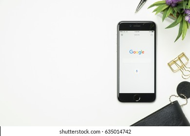 CHIANG MAI, THAILAND - May 02, 2017: Google search application on Apple iPhone. Google search application is the search engine service provide by Google.