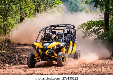 CHIANG MAI, THAILAND - MAY 03: Undefined Driver on Side-by-Side Vehicles (UTV) on the tracks, May 03, 2015 in Chiang mai, Thailand.