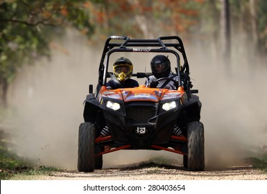 CHIANG MAI, THAILAND - MAY 03 : Undefined referee check on the tracks before start Side-by-Side Vehicles (UTV) , May 03, 2015 in Chiang Mai, Thailand.