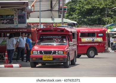 CHIANG MAI, THAILAND -MAY 1 2017:  Red taxi Chiang Mai, For Passenger from Bus Station to City Center. Photo at Chiangmai bus station, thailand.