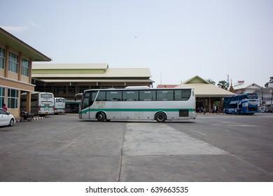 CHIANG MAI, THAILAND -MAY 1 2017:  Golden Dragon Bus of Greenbus Company. Route  Between Chiangmai and Phayao. Photo at Chiangmai bus station, thailand.
