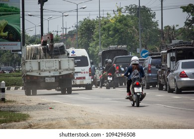CHIANG MAI, THAILAND - MAY 10 2018:  Car and Traffic on highway road near Juction. Photo at road no 121 about 8 km from downtown Chiangmai thailand.