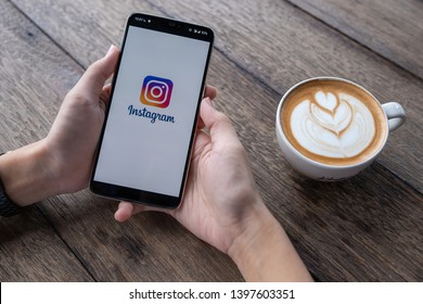 CHIANG MAI, THAILAND - May 11, 2019 : man hand holding Oneplus 6 with login screen of instagram application. Instagram is largest and most popular photograph social networking