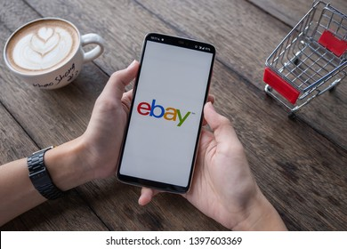 CHIANG MAI, THAILAND - May 11, 2018: Close up of ebay app on a Apple Oneplus 6 screen. ebay is one of the largest online auction and shopping websites