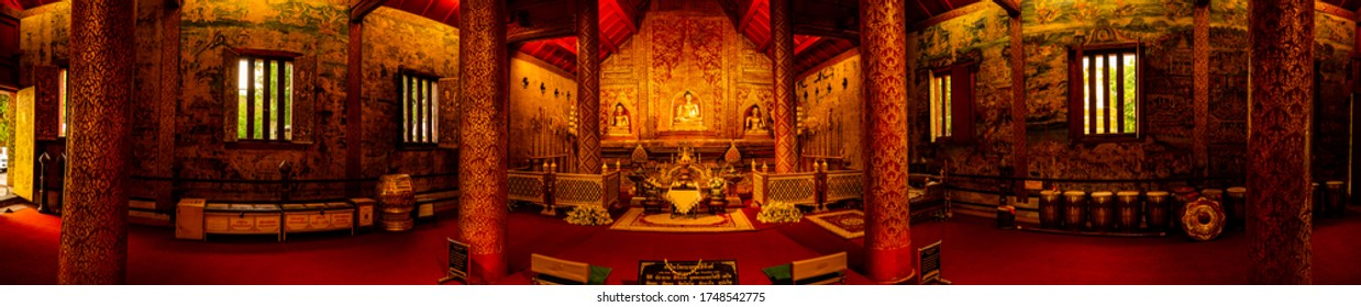 CHIANG MAI, THAILAND - May 11, 2020 : The Phra Phuttha Sihing is a highly revered Buddha image in Chiang Mai province, Thailand.