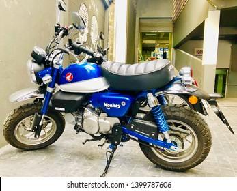 Chiang Mai, Thailand - May 14 2019: Honda Monkey 125 (2018 Blue Color) motercycle for test dive. - Image